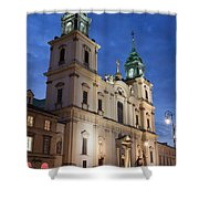 Church Of The Holy Cross At Night In Warsaw Shower Curtain