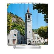Church On Main Square, Varenna, Lake Shower Curtain