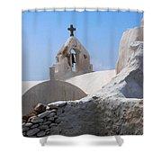 Church On Mykonos Shower Curtain