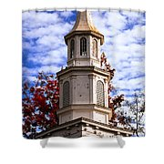 Church Steeple In Autumn Blue Sky Clouds Fine Art Prints As Gift For The Holidays Shower Curtain
