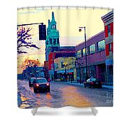 Church Street In Winter Melting Snow Sunset Reflections Montreal Urban City Landscape Scene Cspandau Shower Curtain