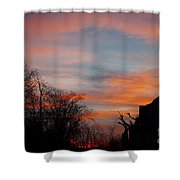 Church With Orange Sky Shower Curtain