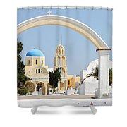 Churches Oia Santorini Greek Islands Shower Curtain