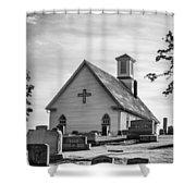 Churchyard Bw Shower Curtain
