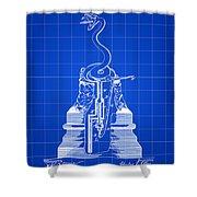 Cigar Lighter Patent 1888 - Blue Shower Curtain