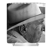 Cigar Maker Remembering His Past Shower Curtain by Rene Triay Photography