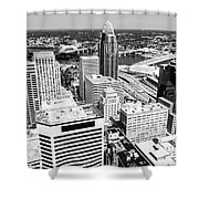 Cincinnati Aerial Skyline Black And White Picture Shower Curtain