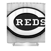 Cincinnati Reds Sign Black And White Picture Shower Curtain