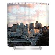 Cincinnati Skyline At Sunset Form The Top Of Mount Adams 2 Shower Curtain