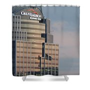 Cincinnati Skyline At Sunset Form The Top Of Mount Adams 3 Shower Curtain
