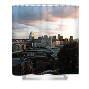 Cincinnati Skyline At Sunset Form The Top Of Mount Adams Shower Curtain