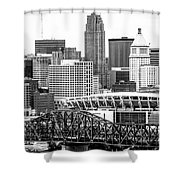 Cincinnati Skyline Black And White Picture Shower Curtain by Paul Velgos