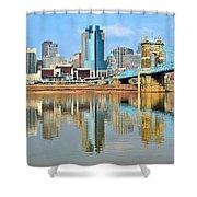 Cincinnati Skyline Reflects Shower Curtain