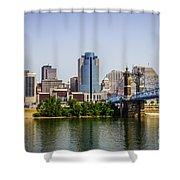 Cincinnati Skyline With Roebling Bridge Shower Curtain