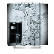 Cinco De Mayo Mural Oury Park Tucson Arizona 1977 Vignetted 2007 Shower Curtain