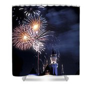 Cinderella Castle Fireworks Iconic Fairy-tale Fortress Fantasyland Shower Curtain