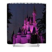 Cinderella Castle Illuminated In Pink Glow Shower Curtain