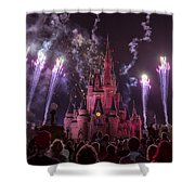 Cinderella's Castle With Fireworks Shower Curtain by Adam Romanowicz
