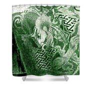 Circa 1900 Samurai Tattoo In Green Shower Curtain