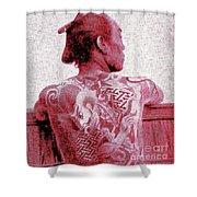 Circa 1900 Samurai Tattoo In Red Shower Curtain
