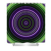 Circular Concentric Stripes In Multiple Colors Shower Curtain