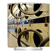 Circular Doors On Laundromat Washing Machines Shower Curtain