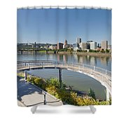 Circular Walkway On Portland Eastbank Esplanade Shower Curtain