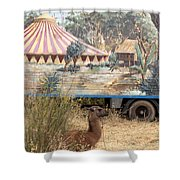 circus circus 2 - A vintage circus wagon with african paint and llama camel  Shower Curtain