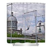 Cirque Carpe Diem Near Quays Along Saint Lawrence River In Montreal-qc Shower Curtain
