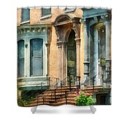 Cities - Albany Ny Brownstone Shower Curtain