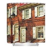 Cities - Philadelphia Brownstone Shower Curtain