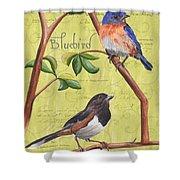 Citron Songbirds 1 Shower Curtain by Debbie DeWitt