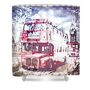 City-art London Red Buses On Westminster Bridge Shower Curtain