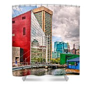 City - Baltimore Md - Harbor Place - Future City  Shower Curtain