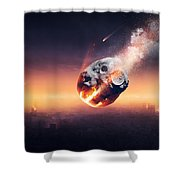 City Destroyed By Meteor Shower Shower Curtain