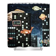 City Fish Edit 2 Shower Curtain