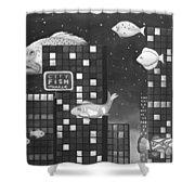 City Fish Edit 3 Shower Curtain