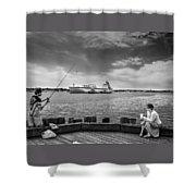 City Fishing Shower Curtain by Bob Orsillo