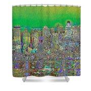 City Garden In Green Shower Curtain