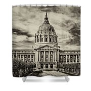 City Hall Antiqued Print Shower Curtain