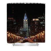 City Hall At Night Shower Curtain by Jennifer Ancker