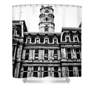 City Hall Philadelphia - Black And White Shower Curtain