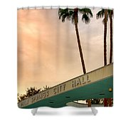 City Hall Sky Palm Springs City Hall Shower Curtain by William Dey