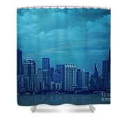 City In Blue Shower Curtain
