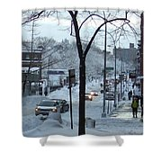 City In Snow Shower Curtain