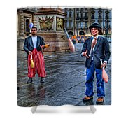 City Jugglers Shower Curtain by Ron Shoshani
