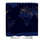 City Lights - Earth Shower Curtain