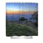 City Lights From Sunrise Point At Mt. Nebo - Arkansas Shower Curtain