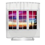 City Lights Sunrise View Through White Window Frame Shower Curtain