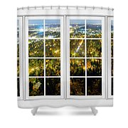 City Lights White Window Frame View Shower Curtain